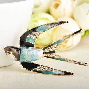 Jewelry - Blue Enamel Swallow Bird Brooch